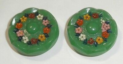 Lot De 2 Boutons En Verre A Motif Floral  - French Buttons