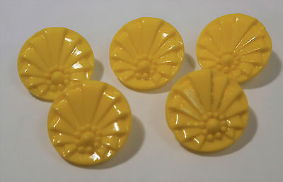 Lot De 5 Boutons En Verre Jaune - French Buttons