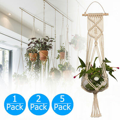 Pot Holder Macrame Plant Hanger Hanging Planter Basket Jute Rope Braided Craf UD