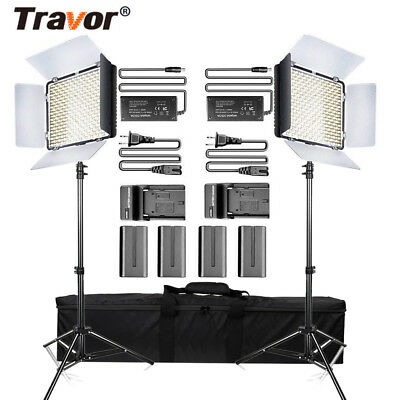 Travor 2PCS/SET 3200/5500K 600LED Video Light Studio Lamp Kits +2*Light Stand