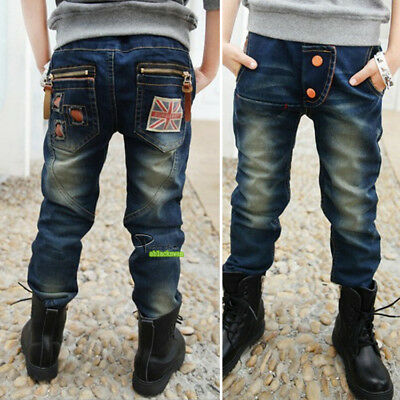 3-12T Boys Spring Autumn Casual Jeans Denim Pants Trousers Adjustable Waist J02