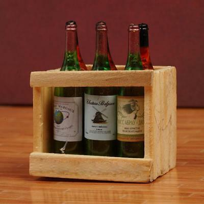 1:12 Doll House Accessories Mini 6 wine bottles with wooden frame ssP