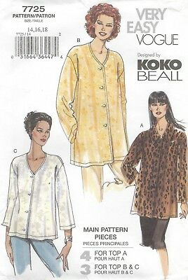 Vogue 7725 Misses'/Miss Petite Top 14, 16, 18 *Rare*  Sewing Pattern