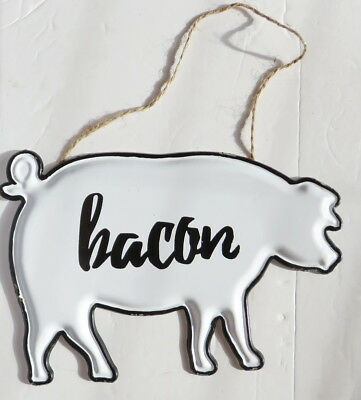 Pig Shape Bacon Farmhouse Metal Sign Hanging
