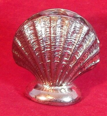 "Vintage Metal Seashell Pen Holder 3 Holes Stamp Slot On Side 1.5"" Tall Unmarked"