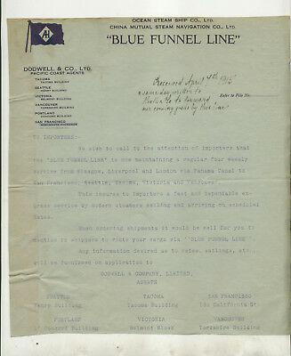"""1915 Circular From Ocean Steam Ship Company """"blue Funnel Line"""" Dodwell & Co"""