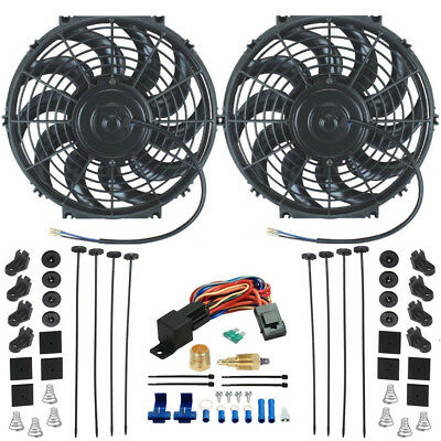 Dual Electric Radiator Cooling Fans Ground Thermostat Switch Kit Threaded Probe