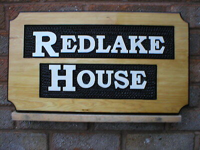 HOUSE SIGN PERSONALIZED NAME PLAQUE free hand carved RELIEF LARGE 50mm letters