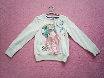 "Girls ""Next"" Neutral Musical Girl Motif Sweatshirt Style Top for Age 7 years"