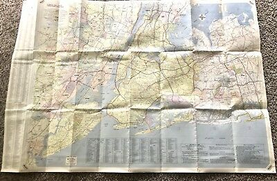 Vintage 1950's 1960 New York City MOBIL Service Station Gas Oil ROAD Map NICE