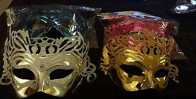 Lot of 4 Pink..Blue..Silver and Gold Mardi Gras Masquerade Party Value Mask