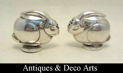 Art Deco Pair of Silver or Silver-plated Rabbit Pepper & Salt Dispensers