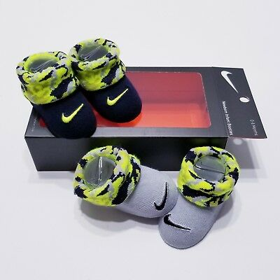 Nike Baby Infant Newborn Booties Crib Shoes 0-6 Month Black / Grey / Volt Camo