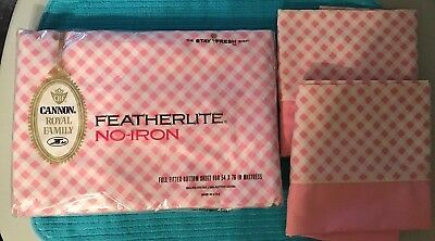 Vintage Cannon Royal Family Full Size  Fitted Bottom Sheet Two Pillowcases Nos