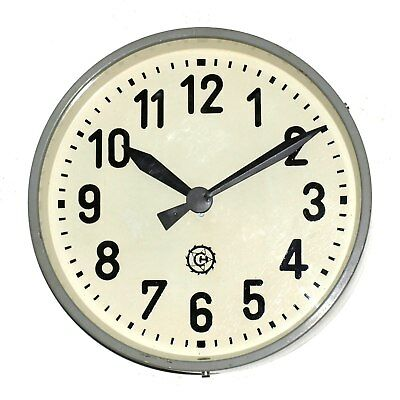 RARE old Running Metal Factory Clock - Chronotechna - 33 cm / 13 inch - vintage
