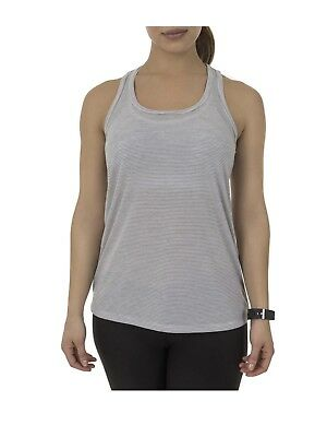 d9a80b3d4bba05 Athletic Works Women Active Stripe Workout Racerback Tank Small Top Shirt  White