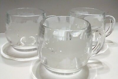Vintage 1970's The Nestle Co. Glass Globe Coffee Mugs Cups Set of 3