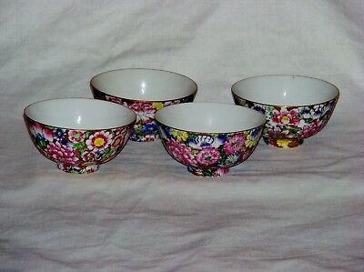 4 Vintage Chinese 1000 Thousand Flower Porcelain Rice Bowls Signed