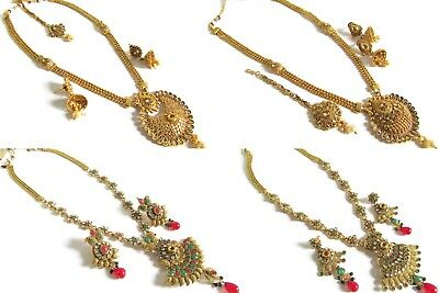 Indian Bollywood Ethnic Antique Gold Plated New Pendant Necklace Earring Set