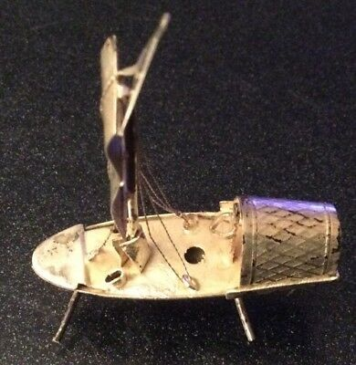 Antique Chinese Silver White Metal Chinese Junk 9.58g Weight 4.8cm L X 6.5cm H