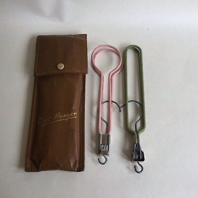 Pair Vintage 1940s Folding Coat Hangers Tan Faux Leather Case Travel Collectible