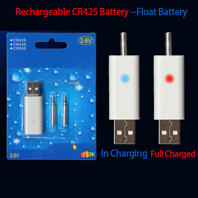 Battery to Mini 3V Floats Bobbers Rechargeable CR425 Fishing Use Lightweight