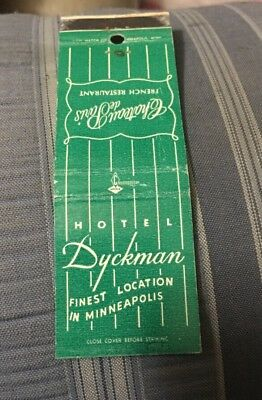 Vintage Matchbook Cover Matchcover Hotel Dyckman Minneapolis MN