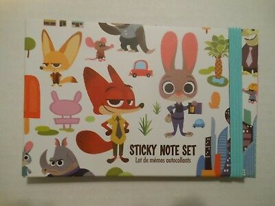 NEW Disney Store Zootopia Sticky Notes Post Its Retail $12.95