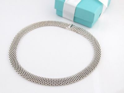 Pristine TIFFANY & CO. SOMERSET Collection Mesh Necklace Sterling Silver 925 17""