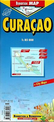 Map of Curacao, Laminated & Folded by Berndston Maps