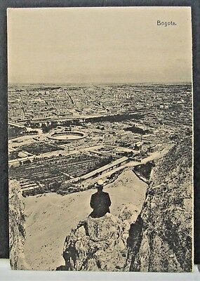 Man on a Hill Looking Down to a Panorama of BOGOTA, Vintage COLOMBIA Card