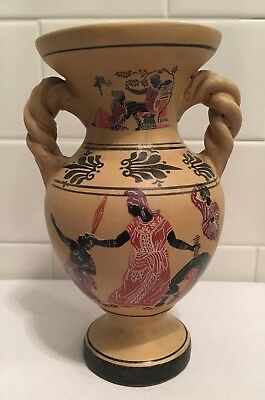Old Ancient Greek Vase Replica Hand Made Warriors And Women