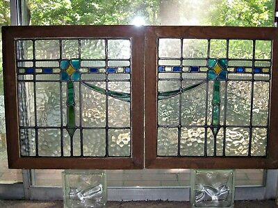 Antique Stained Glass English 2-Piece Set Clear Blue Green Yellow Drape Pattern