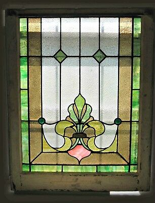 Antique Art Nouveau Stained Glass Window American Bottom Sash Green Pink Amber