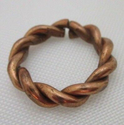 """Vintage Copper Color Twisted Rope Pinky Ring Size 3-3/4"""""""