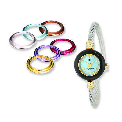 Charles Hubert Gold finish 7 Color Bezels Stnlss Stl Bangle Watch XWA4304