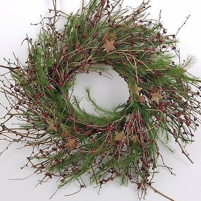 Primitive Christmas Door Wreath Rusty Stars Holly Berry Rustic Country