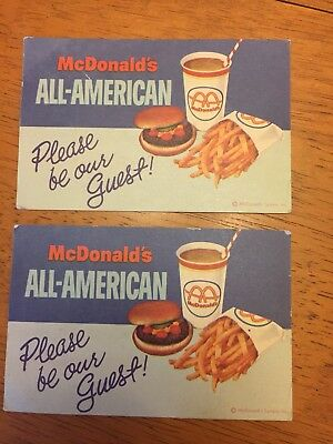 LOT OF 2-COLLECTIBLE McDonalds Memorabilia 1970s Gift Certificate Coupon Vintage