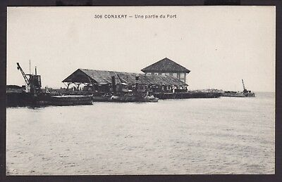 CONAKRY HARBOUR FRENCH AFRICA GUINEA c1910 OLD POSTCARD