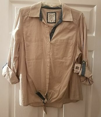 23530f661106 NWT Style & Co Womens Button Down Front Tie Shirt Top Stonewall Plus Size 1X