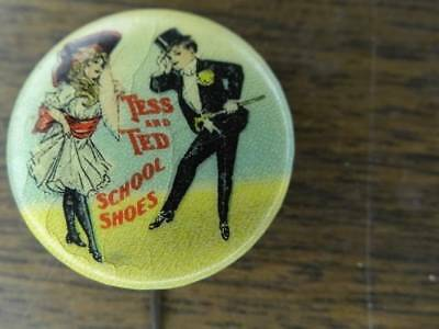 Tess and Ted School Shoes Celluloid Pinback  Tray 1 sec 2