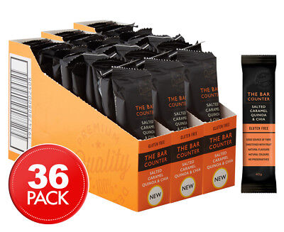 3 x 12pk The Bar Counter Salted Caramel Quinoa & Chia Bars 40g
