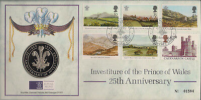 GREAT BRITAIN COVER 2004 INVESTITURE OF THE PRINCE OF WALES 25th ANNIV W/MEDAL