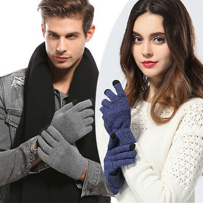 Men's Women's Winter Warm Kintted Anti Slip Touch Screen Thermal Gloves Mittens
