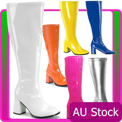 Womens Go Go Knee High White Gogo Boots Hippie Hippy 60s 70s Disco Costume Shoes