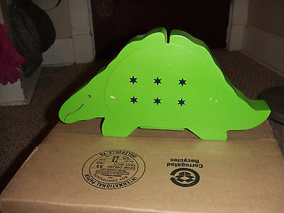 Green Dinosaur piggy bank w/ small star of davids-wood