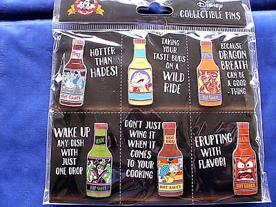 Disney * HOT SAUCE BOTTLES * New in Pack 6 Pin Villains Characters Booster Set