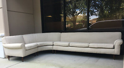 MID CENTURY MODERN 3Pc L-Shape Sectional Sofa w/Tapered ...
