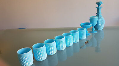 Vintage Fenton Ware Blue Milk Glass Drinks Set.10 Piece, Good Condition.