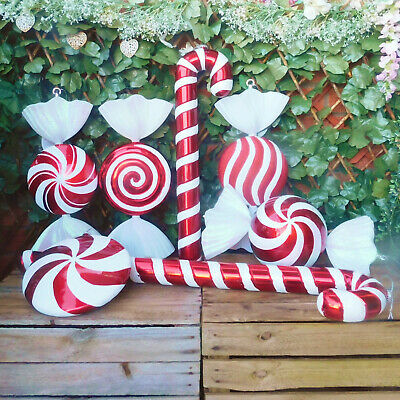 Giant Red & White Glitter Candy Cane or Sweet Christmas Tree Display Decorations
